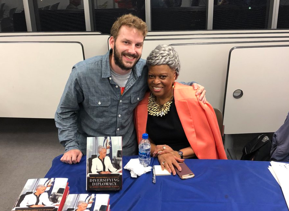 Ambassador Elam-Thomas and I during the book signing portion. We mostly reminisced about Boston.