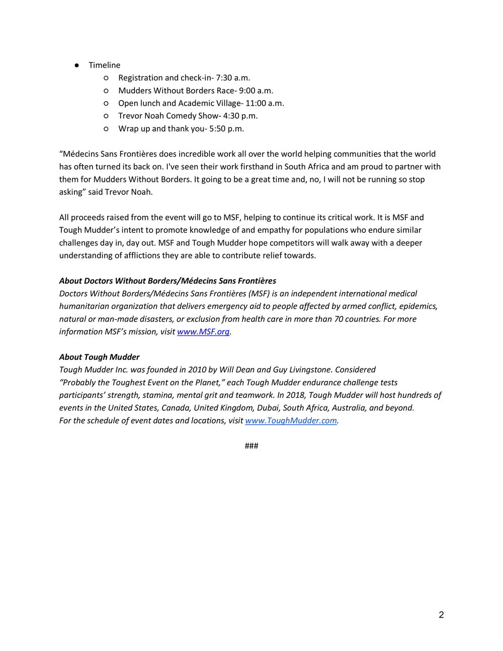 Mudders Without Borders Press Release Page 2