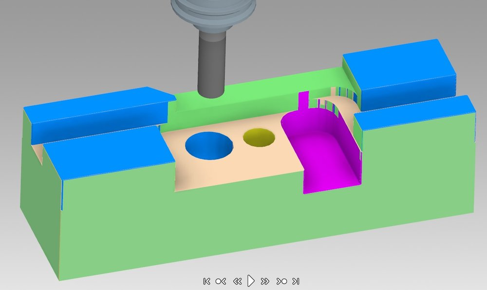 Here is the Autodesk Inventor designed tool block with the HSM tool paths applied.