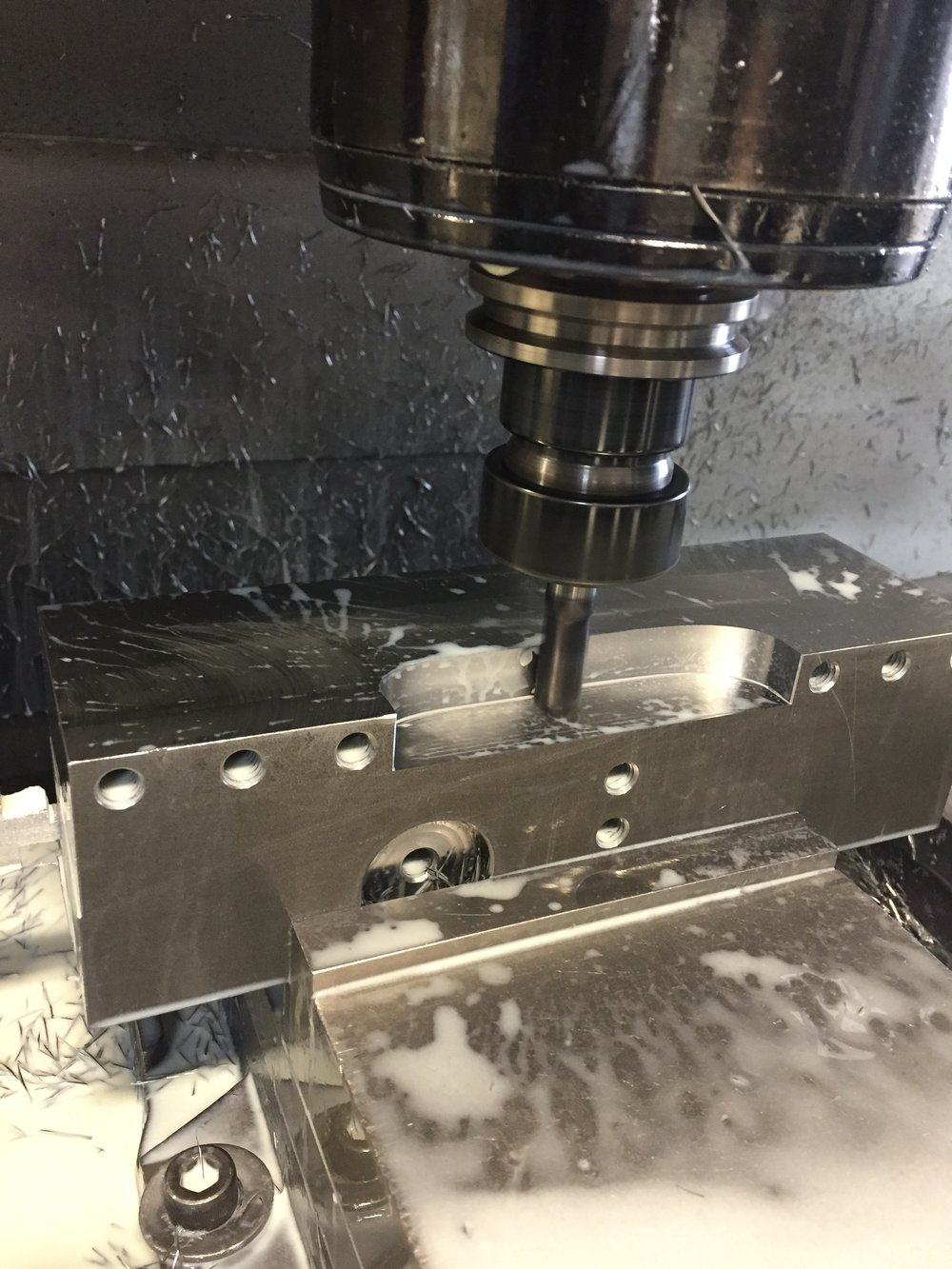 "Our Haas VF4 milling the tool block.  This is a steel 3""x3"" billet.   Iscar's endmills are the greatest!"