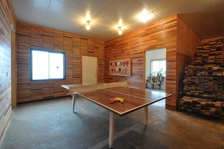 Walnut Table Tennis Table w White Powder Coated Metal Base