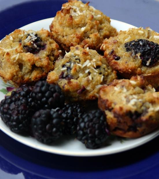 Paleo Blackberry Coconut Muffins