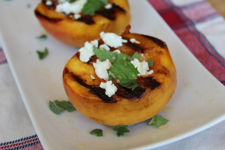 Grilled Peaches with Goat Cheese & Honey