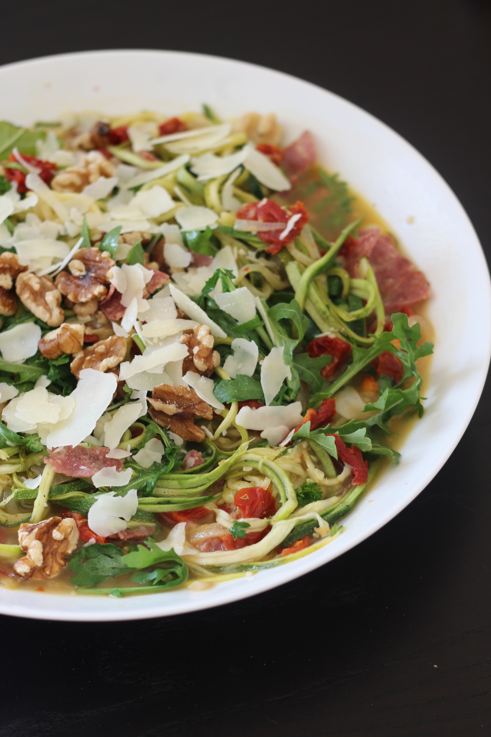 Zucchini Noodles with Salami & Arugula | Freckled Italian