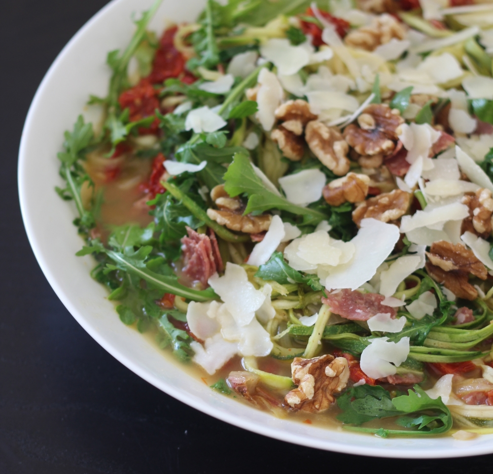 Zoodles with Salami & Arugula