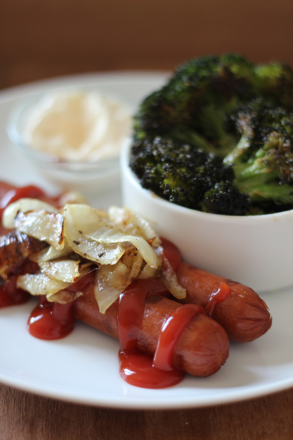 Easy Roasted Broccoli with Grilled Hot Dogs | Freckled Italian