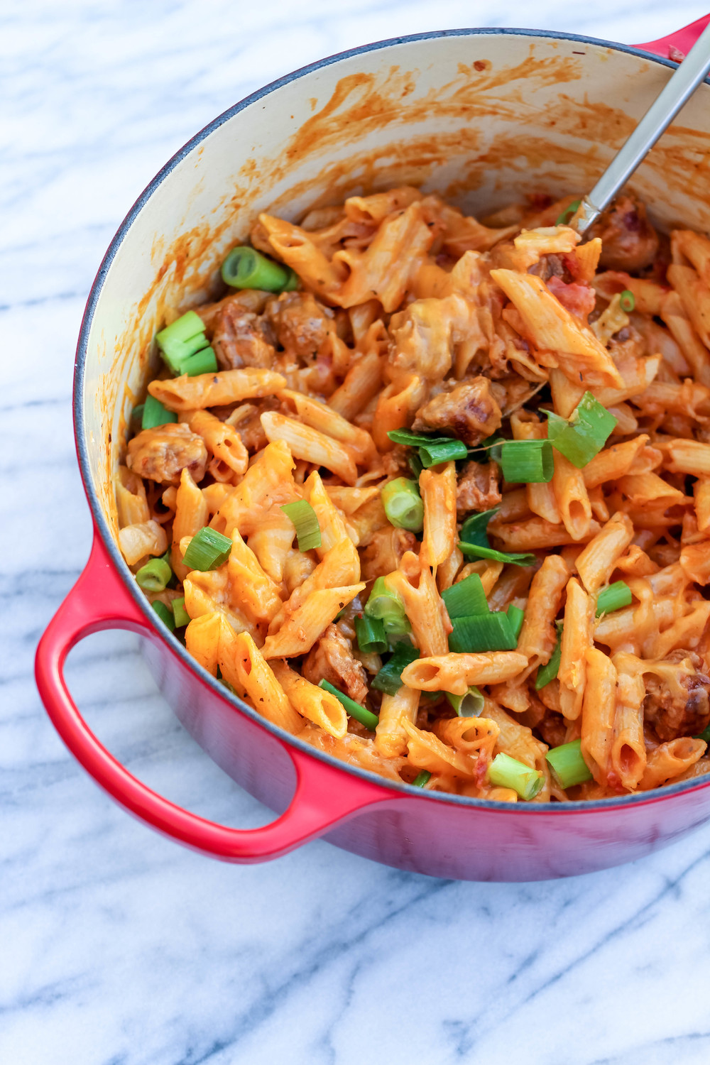 Gluten-Free Cheesy One-Pot Sausage Pasta | Freckled Italian