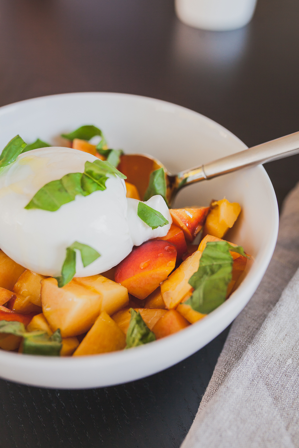 Peach and Basil Salad with Burrata | Freckled Italian