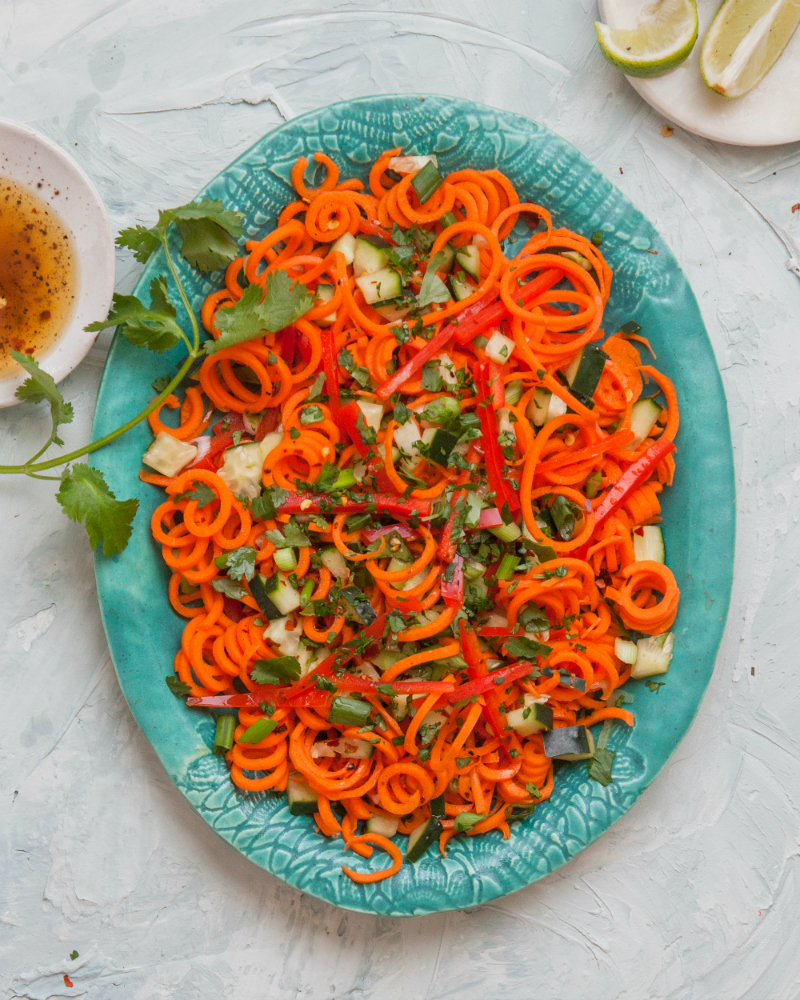 Spiralized Carrot Salad | Freckled Italian