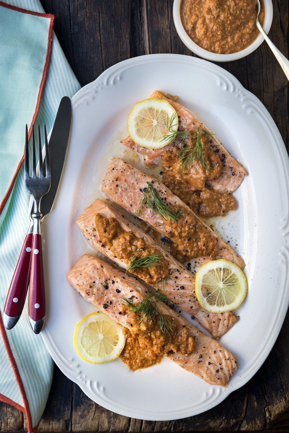 Keto Salmon Romesco | Freckled Italian