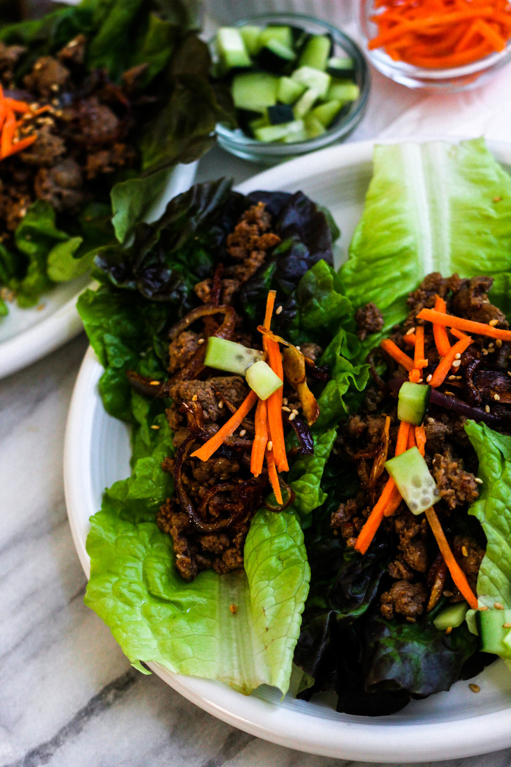 Chili Beef Lettuce Wraps with Crispy Onions and Garlic | Freckled Italian