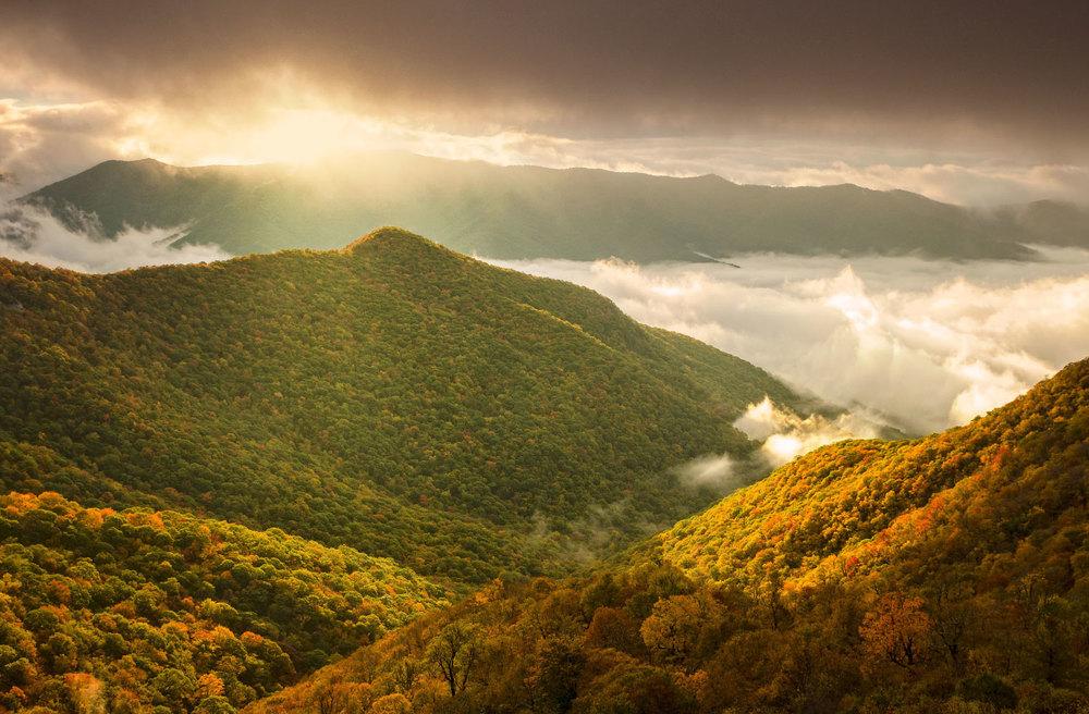 Fall foliage on the Blue Ridge Parkway North Carolina