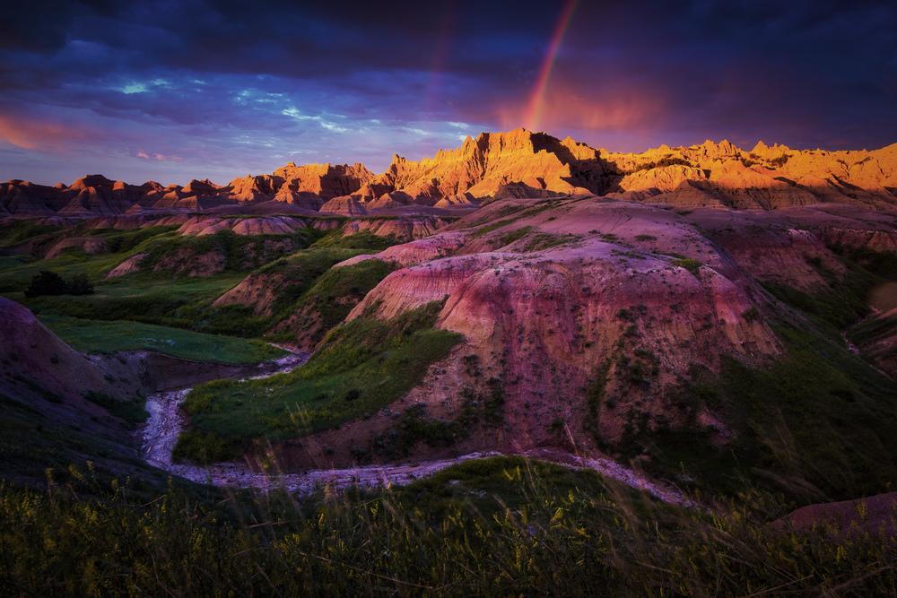 Badlands at sunrise, South Dakota