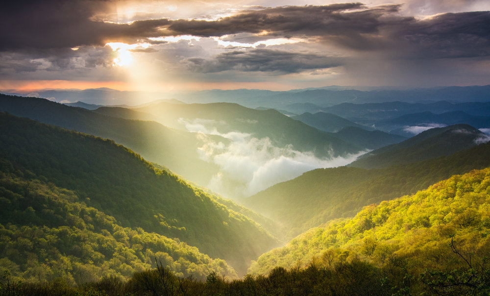 Sun rays after a storm, Craggy Gardens, Asheville, NC