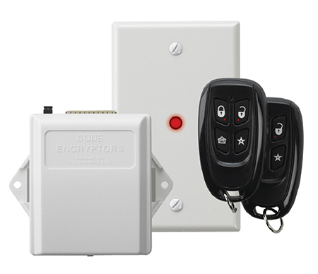 The Honeywell CEY3 remotes are a standard feature of our security system packages. The remotes will arm/disarm your system, have a built-in panic option, and will operate your overhead garage doors.
