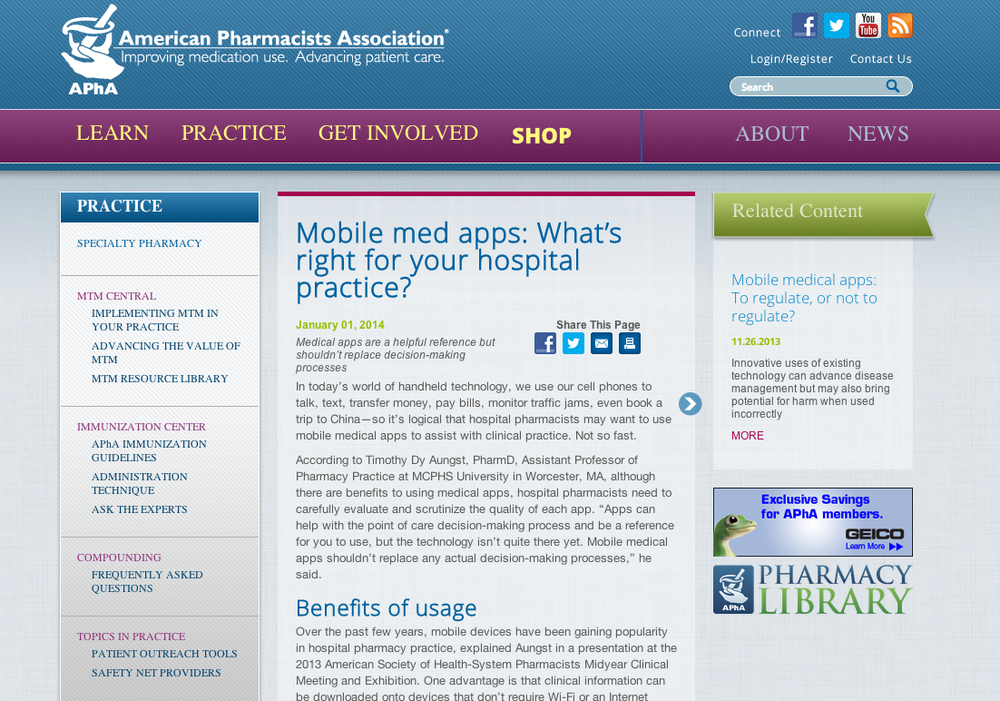 Interview on role of mobile medical apps for pharmacists in the hospital.
