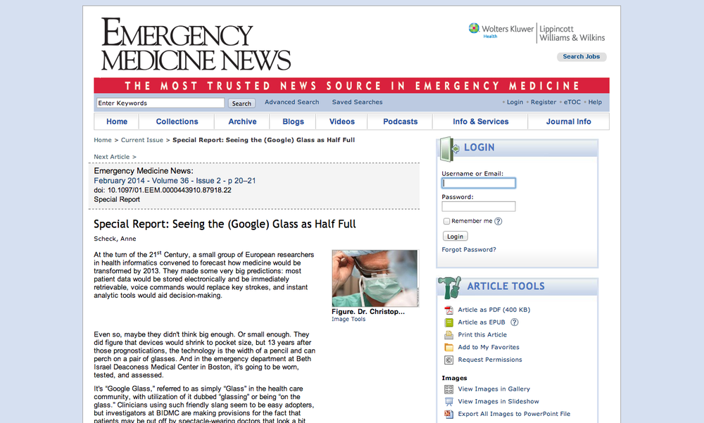 Interview about my thoughts on Google Glass in Emergency Medicine