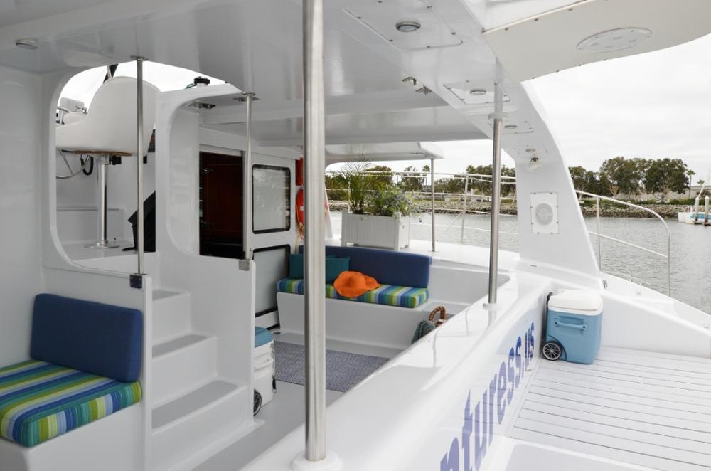 Covered Cockpit in Sailing Catamaran