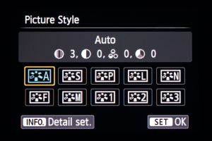 Standard Graphical interface for finding picture style (picture control for nikons) with options to customize below. Notice 1, 2, 3 are custom settings for all settings not just picture style.