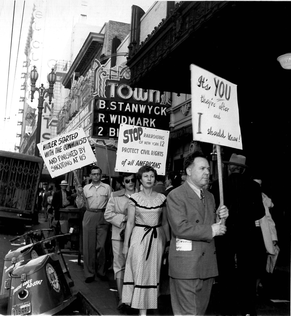 Library founder Emil Freed (front) on a picket line.