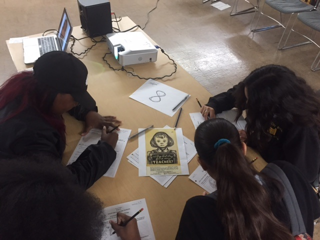 9th grade students from a local high school analyze materials from the Library's collection on teachers who were blacklisted during the McCarthy Era for voicing dissent.