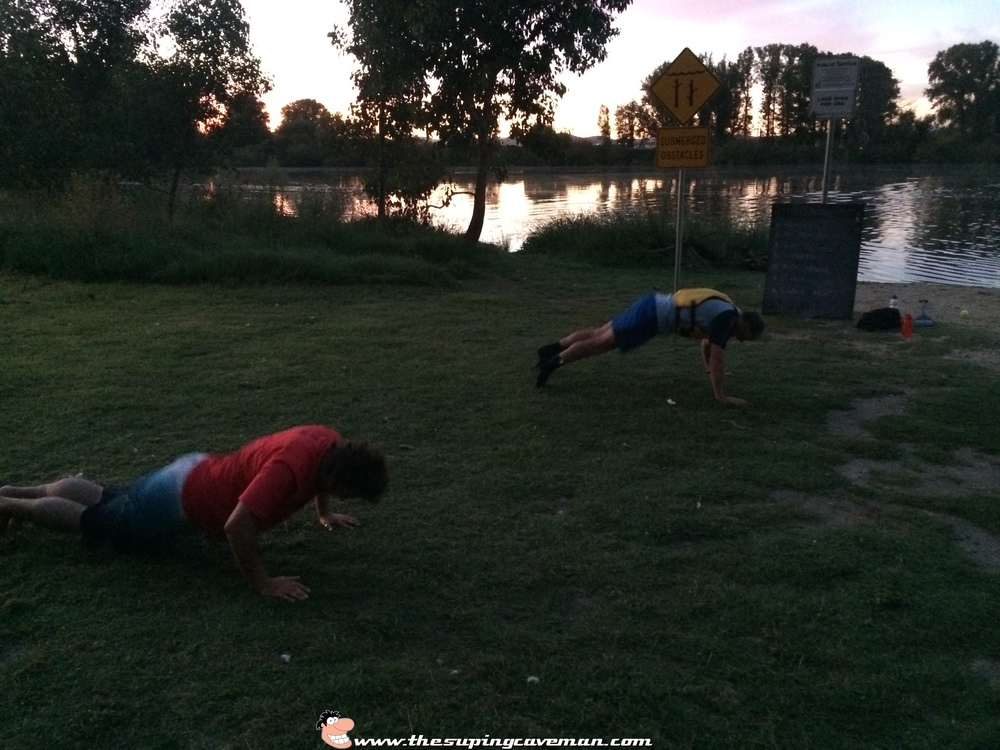 Capital SUP paddlers Aidan Lewis and Jon Bell getting their Burpee on