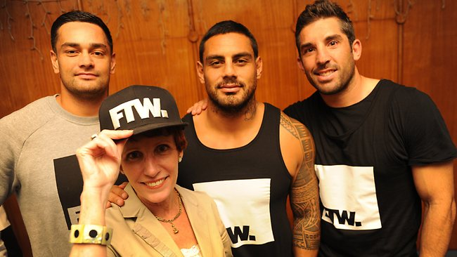 Rugby League stars John Sutton, Reni Maitua and Braith Anasta with Sue Murray from Suicide Prevention Australia are all supporting the Plebs, Pro's & Personalities 24 hour Run for Suicide Prevention at the Maroubra Sports Club.