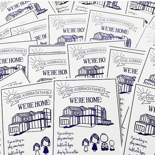 Custom designed and letterpress moving postcards.