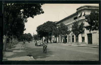 Wide, tree-lined Norodom Boulevard, with the tip of Wat Phnom in the background, 1960s