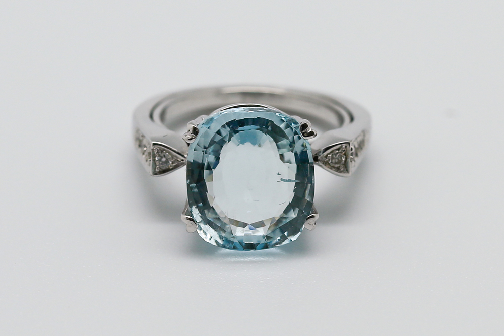 """Piscinette"" is a bespoke piece we created and donated to RiverKids, a charity that works to prevent trafficking of children in Cambodia, for their fundraising efforts. The vintage-inspired design  features a clear, light blue aquamarine with an appearance reminiscent of a tiny pool of water, and was inspired by and uniquely created for the charity."