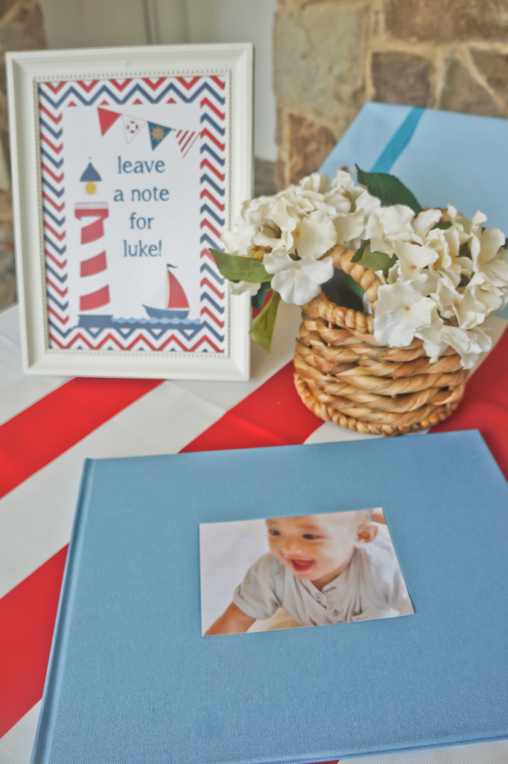 nautical birthday party guest book table