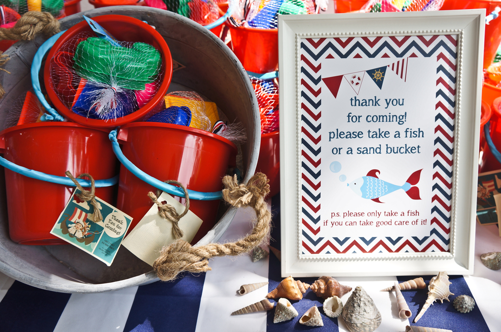 nautical party favours sand bucket