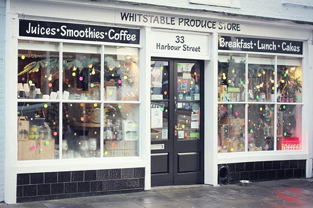The window display finally complete!  A traditional hamper look with natural foliage and some popping neon colour dots. Just adding a touch twist, from the traditional look. 'Hampers Delight.' 💖💚🧡💛 Ready for tomorrow Birthday celebration at Whitstable Produce and Small Business Saturday. #Christmaswindowdisplay #contemporary #neondots #neon #windowdisplay #shopfront #windowstyling #Kent #Whitstable #shoplocal #smallbusinesssaturday #vm #retail