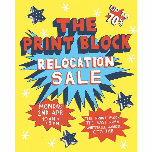 Good Morning everyone one day only event at the Print Block studio TODAY. Before the studio moves to a new location. @theprintblock #Whitstable #Kent #handmade #handprinted #studiosale #oneday #eastermonday