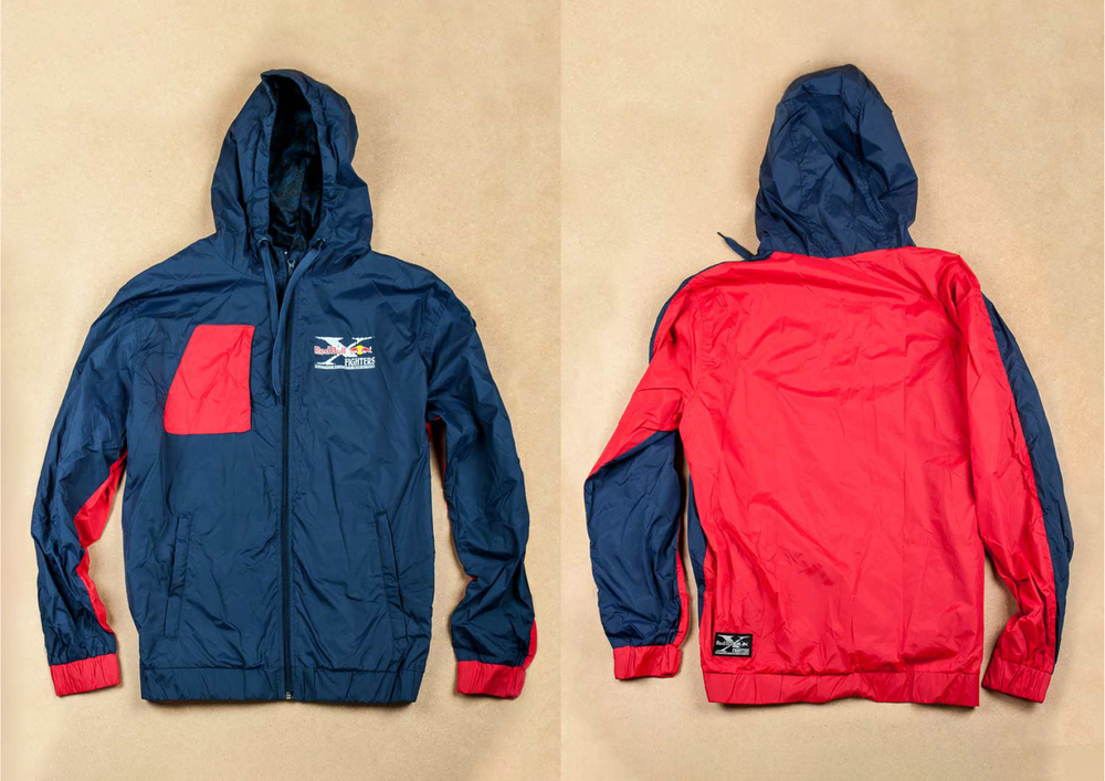 x-fighters colorblock windbreaker with motorcycle pattern lining