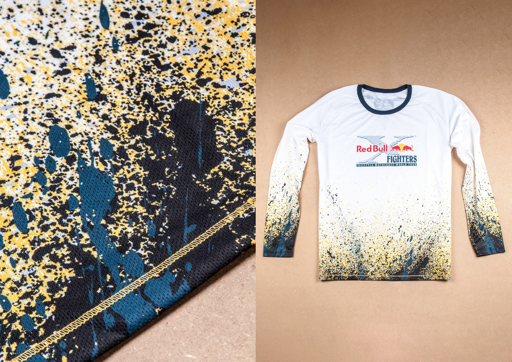 x-fighters motocross jersey with colorful mud pattern