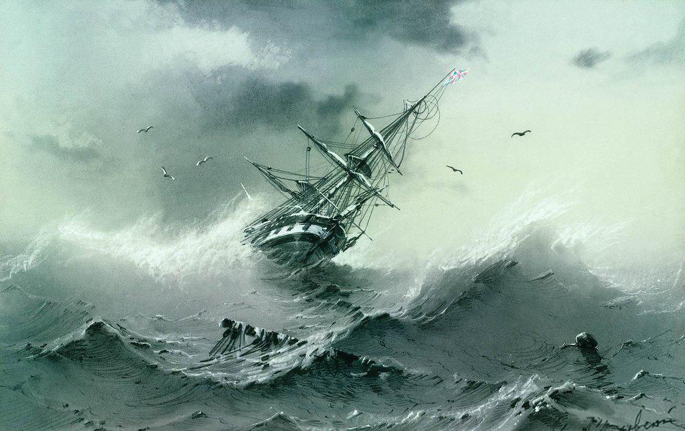 Shipwreak 1854 - Ivan Aivazovsky via WikiPaintings