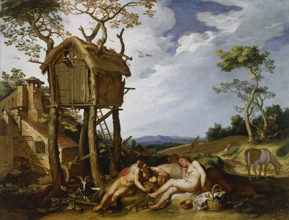 """Parable of the Wheat and the Tares, 1624, byAbraham Bloemaert. The """"lazy peasants"""" sleep instead of work, representing the sin of sloth."""