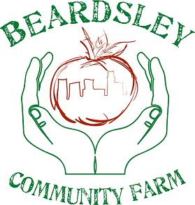"IMAGE DESCRIPTION:  Our logo. ""BEARDSLEY COMMUNITY FARM"" is in a circle in a HAND-DRAWN serif font. In the circle are two hands holding a tomato that has a skyline within it."