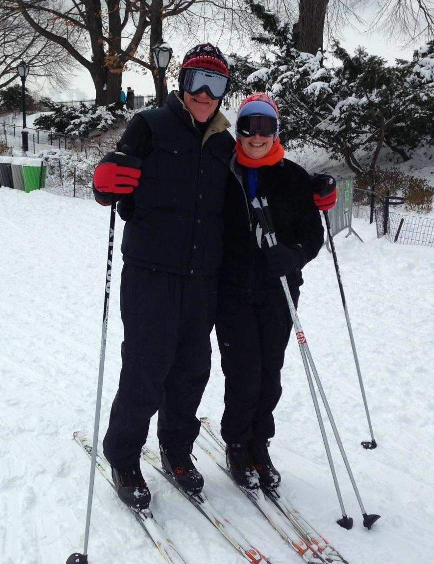 Headmaster Stephen Clement cross country skiing in Central Park with his wife, Sally.