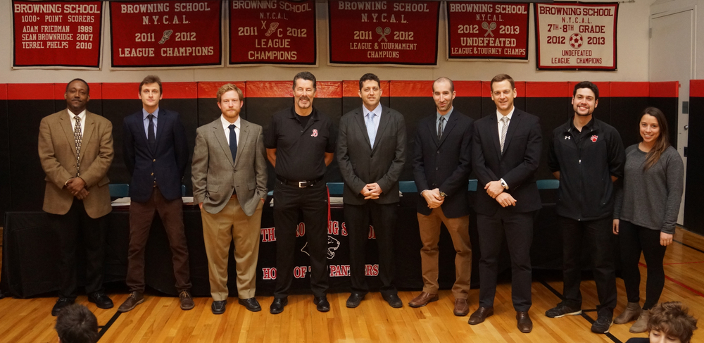 Winter basketball coaches, Glenn Walker (JV), JJ Lindenthal (JV), Matt Brown (5th Grade), David Watson (6th Grade), Andrew West '92 (Varsity), Michael Cohn (Varsity), Dan Ragsdale (7/8 Red), Andrew Wolf (7/8 Black) and Taylor McKenna (7/8 Black).