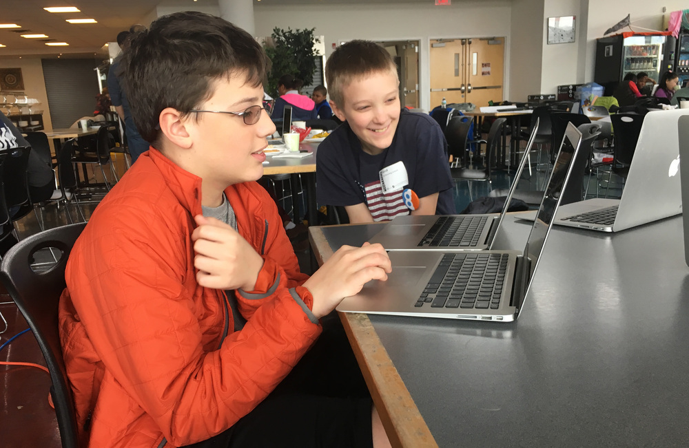 Browning fifth graders participate in a regional programming hackathon at Riverdale Country School.