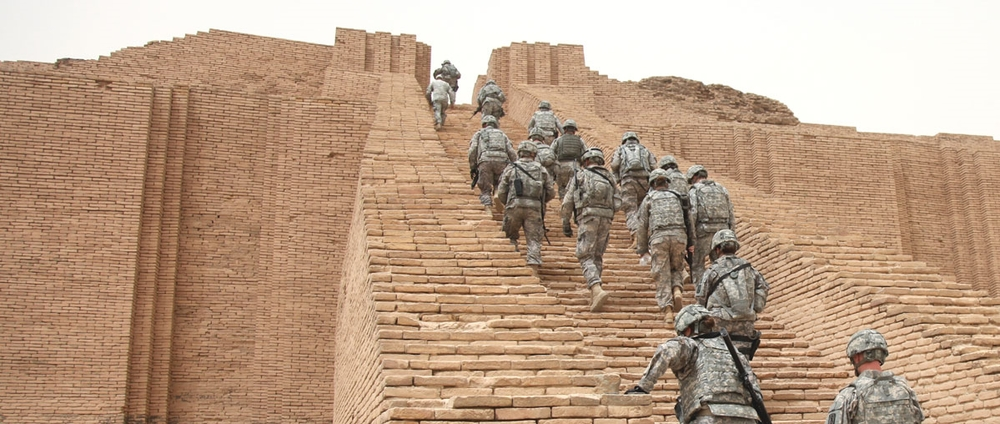 U.S. troops mounting the Great Ziggurat of Ur