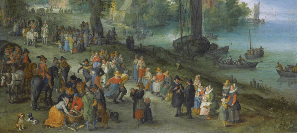 """People dancing on a river bank"" by Jan Brueghel the elder"