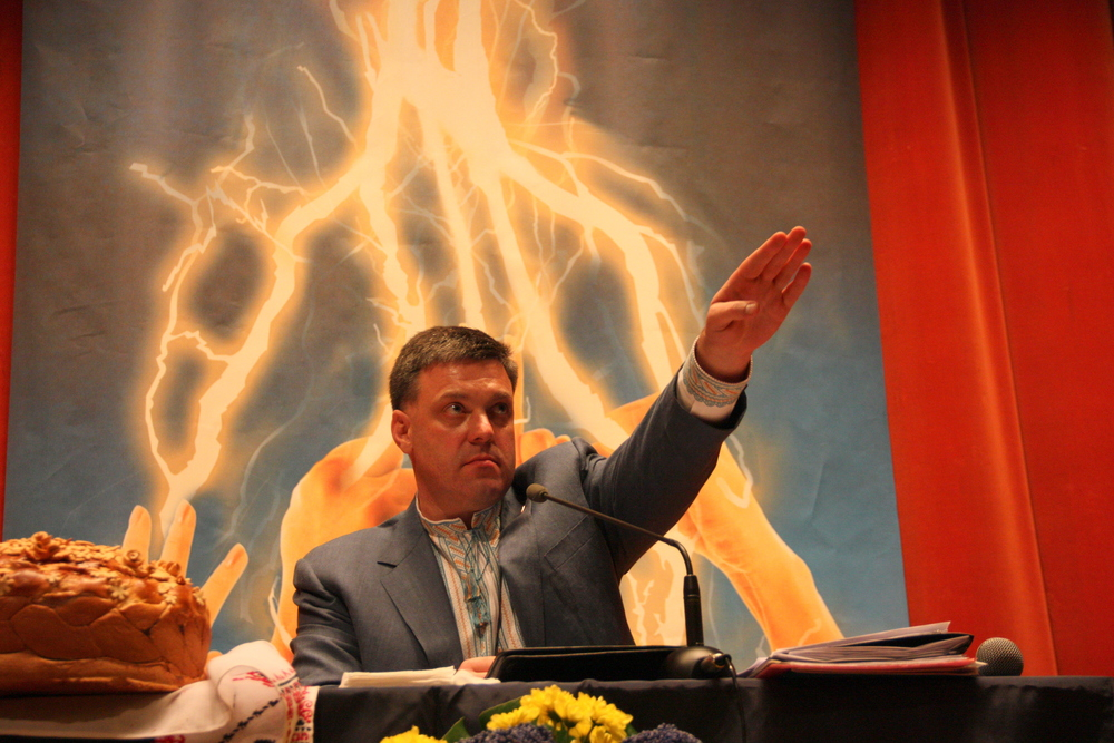 "Oleh Tyahnybok, leader of the far-right Svoboda Party, formerly the ""Social-National Party."" Get it? Social-National: National Socialist?"