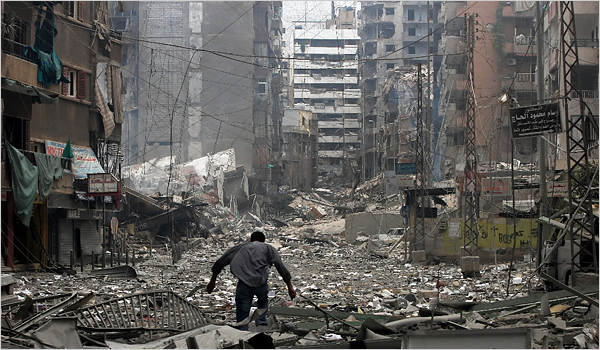 A Beirut suburb bombed by Israel in 2006.