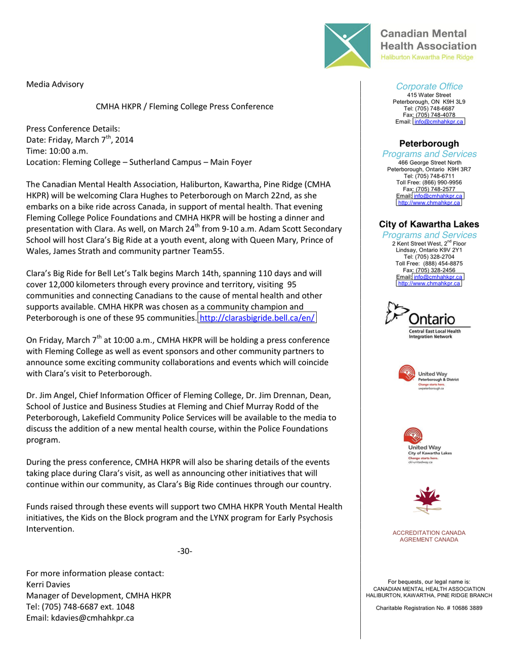 CMHA's press release.