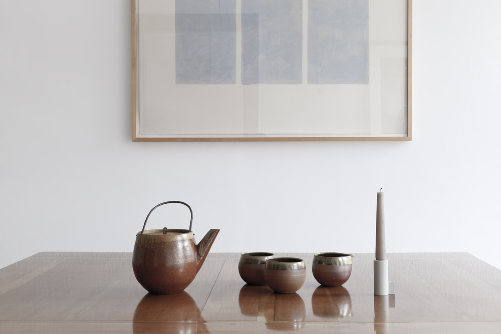 GROUNDED PLAISIRS, TEA SET  PRIVATE COLLECTION  STONEWARE HANDTHROWN, ENGOBED INSIDE  SALT GLAZED, 1300° WOOD FIRED