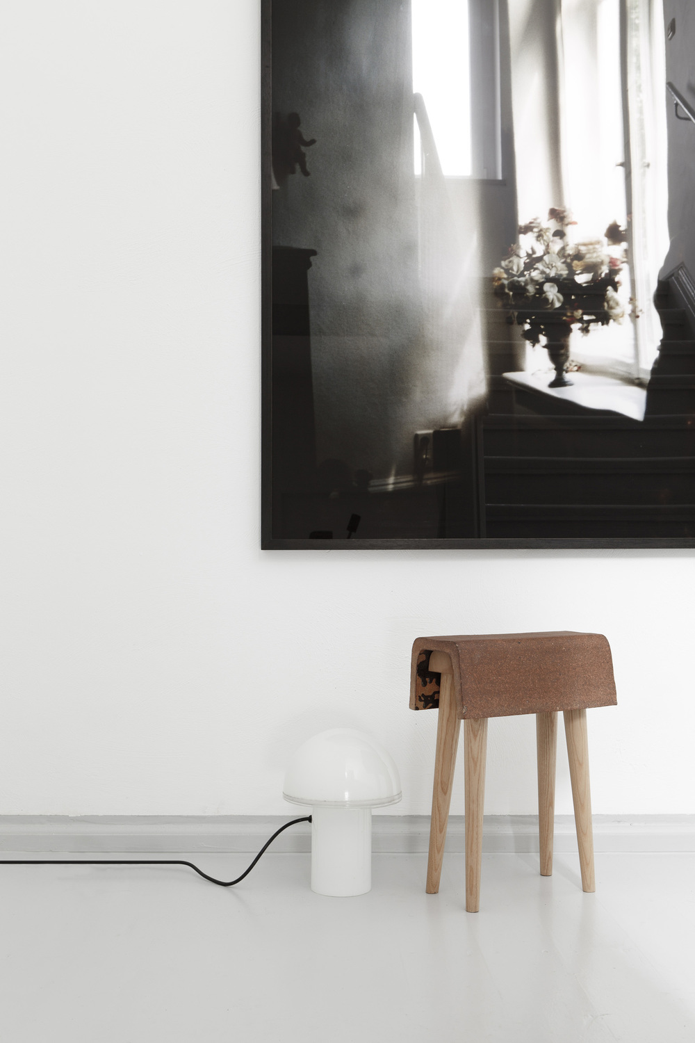 """STOOL, LIMITED EDITION FROM THE COLLECTION """"LANGSAM IST DAS NEUE SCHNELL""""  STONEWARE GLAZED INSIDE, 1300°  ASH WOOD"""
