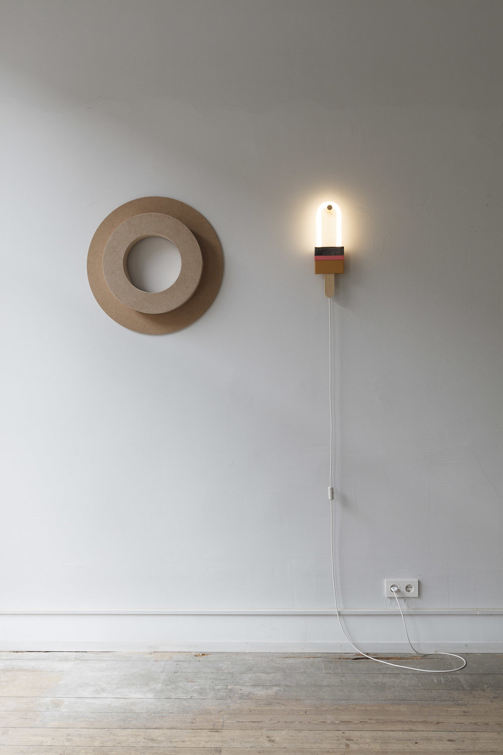 WALL LIGHT POPP,  GLASS, ACRYLIC, LACQUERED MDF, NATURAL STONE, WOOD  14 x 4 x 44cm  Many thanks to  Van Den Weghe , Belgium for their support